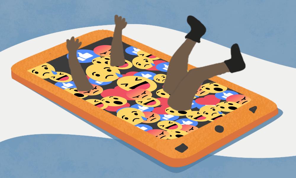 A person falling inside a smartphone full of emoji.