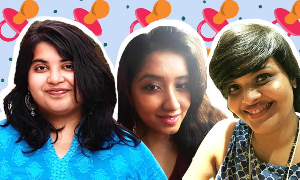 Collage of images of Maithili Desai Iyer, Shayonee Dasgupta and Rishita Sankrit
