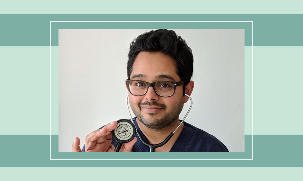 An image of Munjaal Kapadia holding a stethoscope.