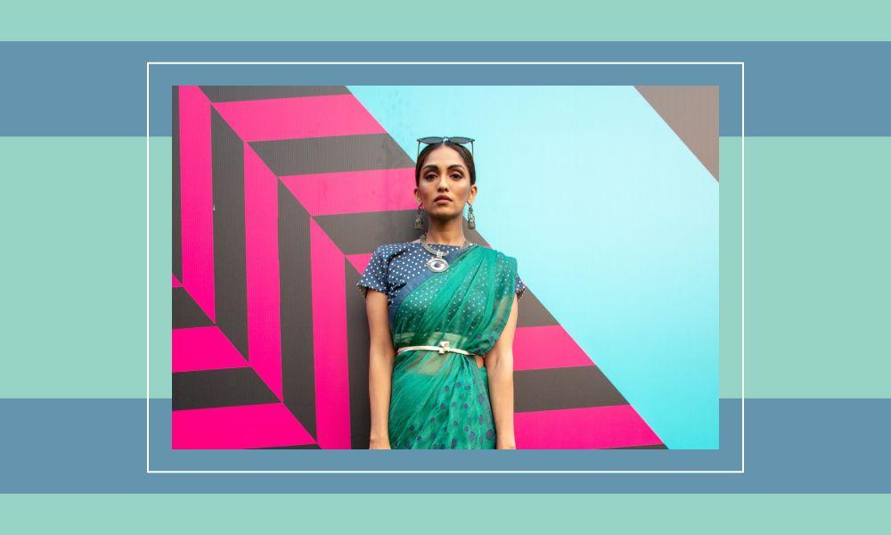 Image of Shrima Rai wearing a saree.